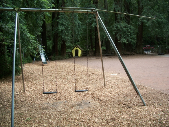 Canyon School, swings with sprinkler
