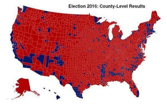 Election 2016 by counties